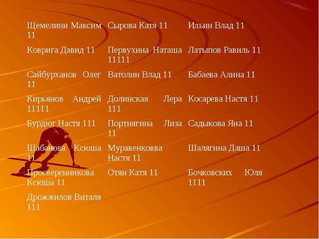 Щемелини Максим 11Сырова Катя 11Ильин Влад 11 Коврига Давид 11Первухина На...