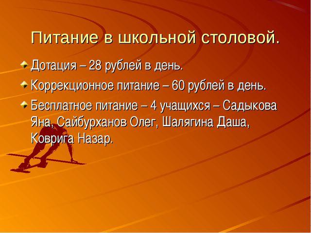Питание в школьной столовой. Дотация – 28 рублей в день. Коррекционное питани...