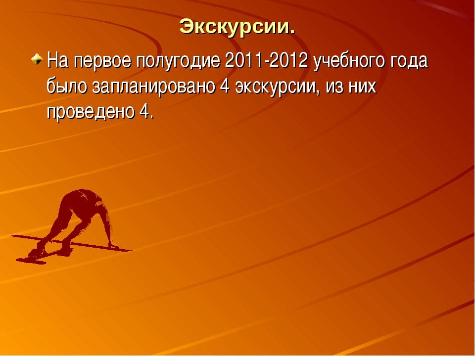 Экскурсии. На первое полугодие 2011-2012 учебного года было запланировано 4 э...