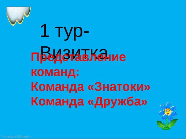 1 тур- Визитка Представление команд: Команда «Знатоки» Команда «Дружба»