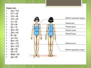Мерки (см): •Сш = 17,5 •Сг1 = 42 •Сг2 = 46 •Сг3 = 44 •Ст = 33 •Сб = 46