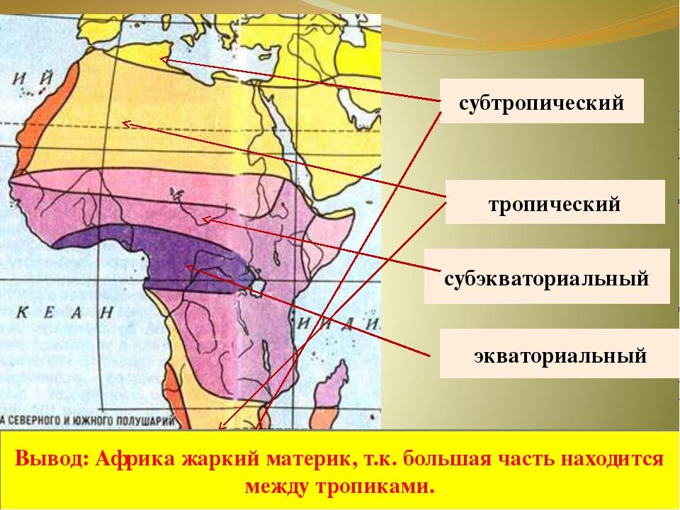 экваториальный субэкваториальный тропический субтропический Вывод: Африка жа...