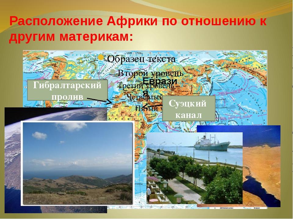 Расположение Африки по отношению к другим материкам: Гибралтарский пролив Суэ...