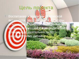 Цель проекта Воспитание и развитие творческой активности, экологической культ