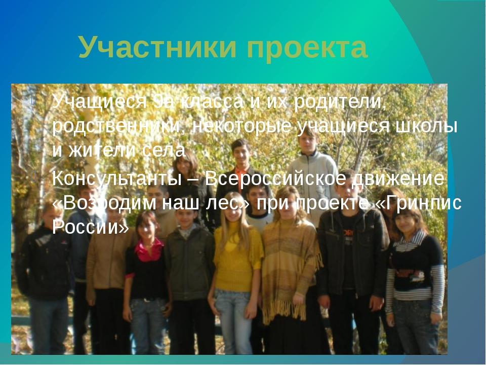 Участники проекта Учащиеся 9а класса и их родители, родственники, некоторые у...