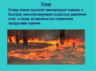 Пожар Пожар опасен высокой температурой горения, и быстрой, неконтролируемой