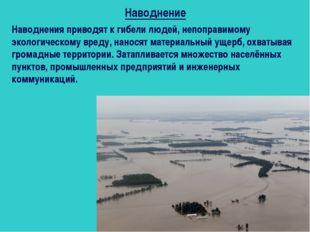 Наводнения приводят к гибели людей, непоправимому экологическому вреду, нанос