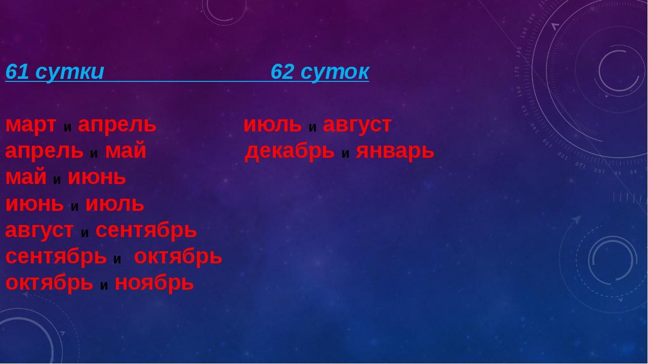 61 сутки 62 суток март и апрель июль и август апрель и май декабрь и январь...