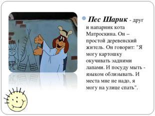 Пес Шарик - друг и напарник кота Матроскина. Он – простой деревенский житель.