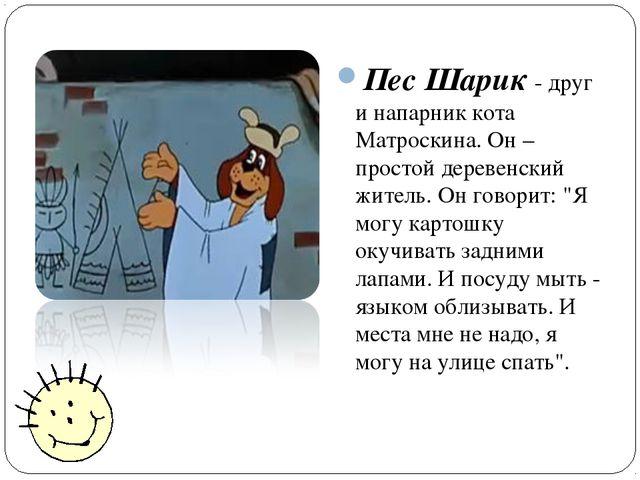Пес Шарик - друг и напарник кота Матроскина. Он – простой деревенский житель....