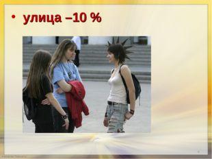 улица –10 %  улица –10 %