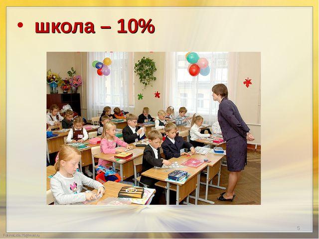 школа – 10%  школа – 10%