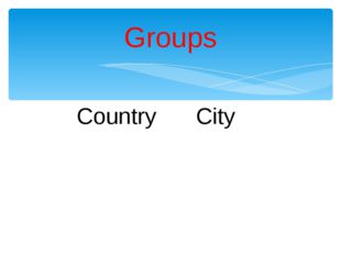 Country			City		 Groups