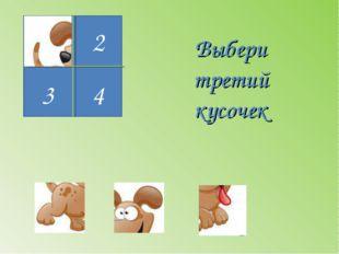 1 3 4 2 Выбери третий кусочек