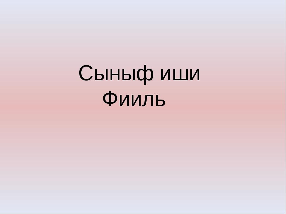 Сыныф иши Фииль