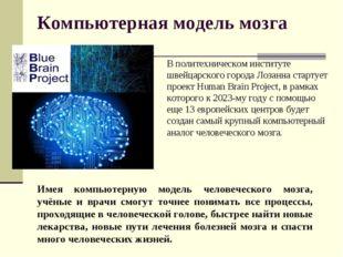 Компьютерная модель мозга В политехническом институте швейцарского города Лоз