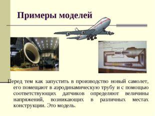 Примеры моделей Перед тем как запустить в производство новый самолет, его пом