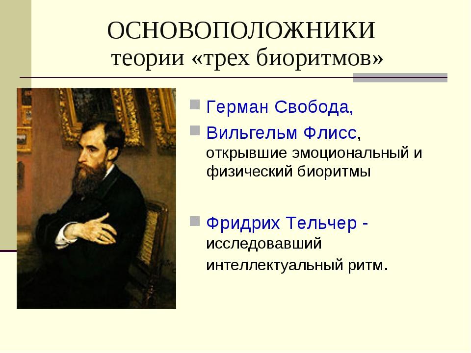 ОСНОВОПОЛОЖНИКИ теории «трех биоритмов» Герман Свобода, Вильгельм Флисс, откр...