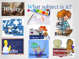 What subject is it? History Art Maths Physical Education Chemistry Geography