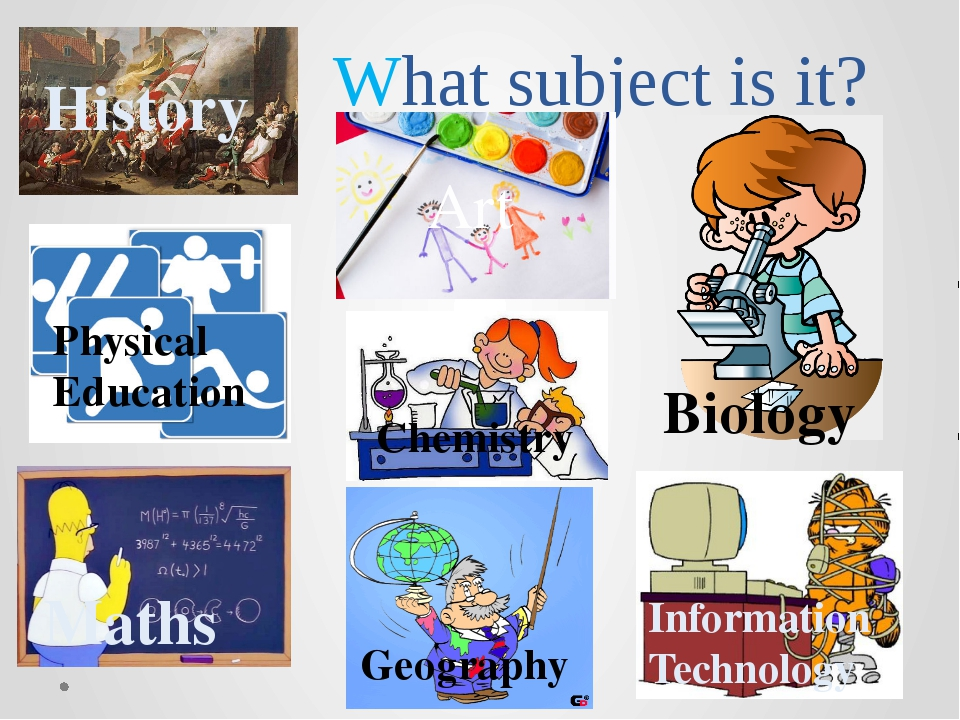 What subject is it? History Art Maths Physical Education Chemistry Geography...