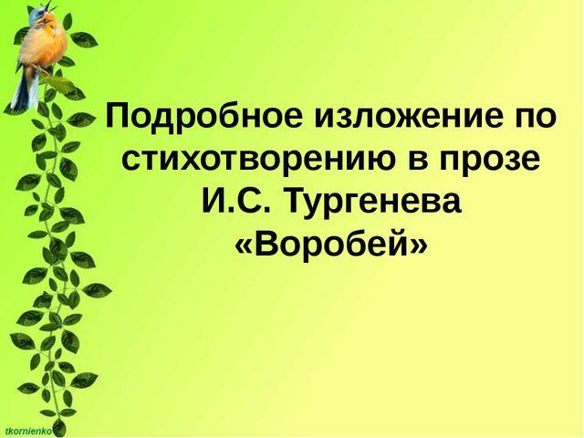 Подробное изложение по стихотворению в прозе И.С. Тургенева «Воробей»