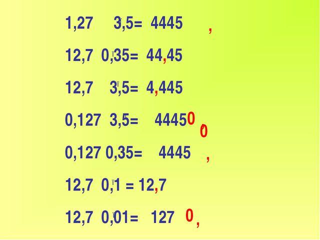 1,27 3,5= 4445 12,7 0,35= 44,45 12,7 3,5= 4,445 0,127 3,5= 4445 0,127 0,35= 4...
