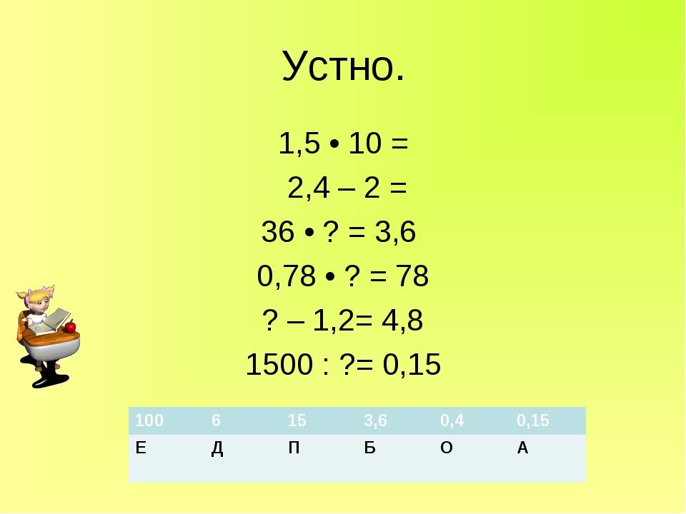 Устно. 1,5 • 10 = 2,4 – 2 = 36 • ? = 3,6 0,78 • ? = 78 ? – 1,2= 4,8 1500 : ?=...