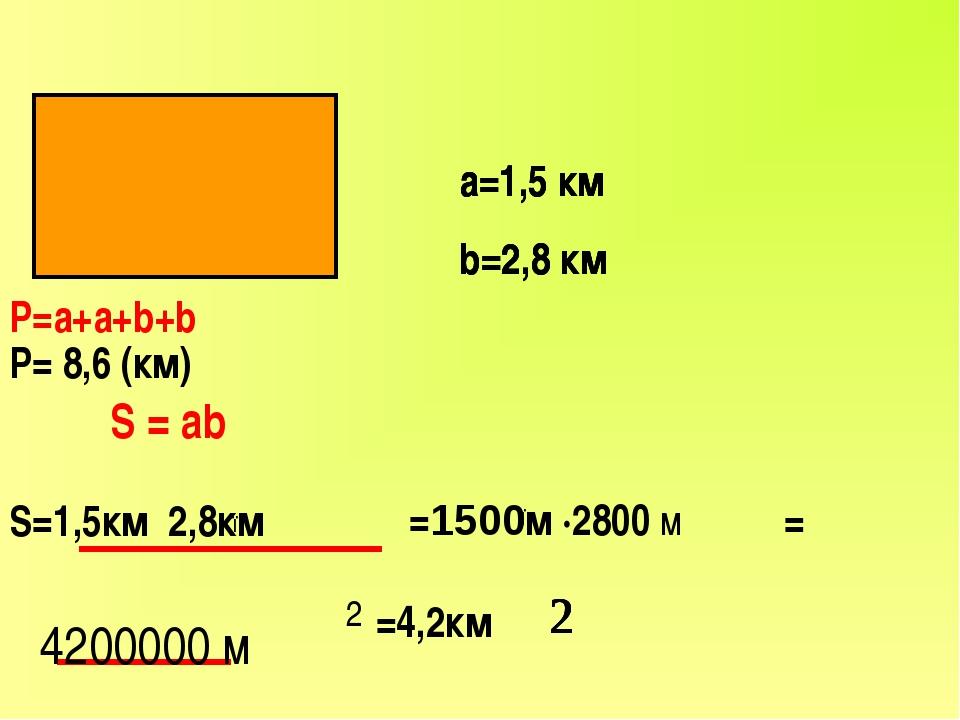 а=1,5 км b=2,8 км Р=а+а+b+b Р= 8,6 (км) S=1,5км 2,8км ● ● =1500м ·2800 м =4,2...