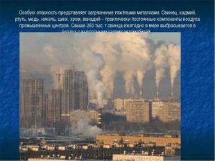 Особую опасность представляет загрязнение тяжёлыми металлами. Свинец, кадмий,