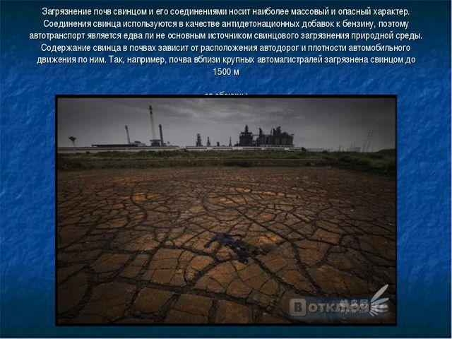 Загрязнение почв свинцом и его соединениями носит наиболее массовый и опасны...