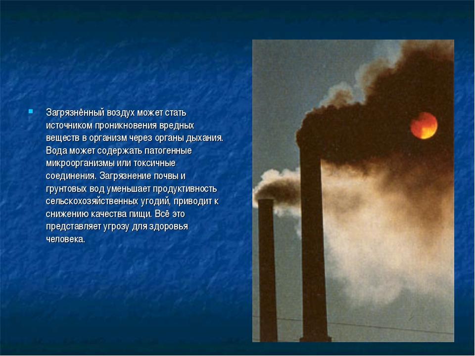 Загрязнённый воздух может стать источником проникновения вредных веществ в ор...