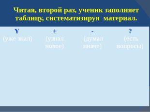 Читая, второй раз, ученик заполняет таблицу, систематизируя материал. Y (уже