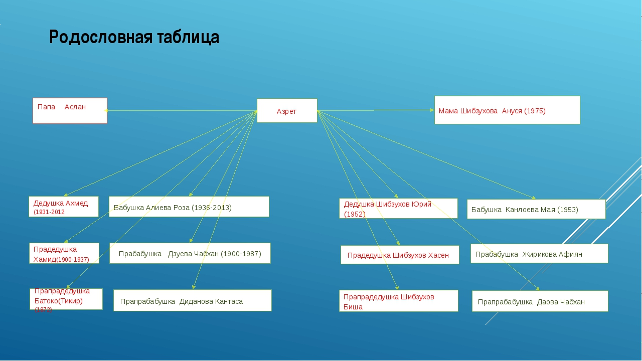 Родословная таблица Азрет Прадедушка Шибзухов Хасен Дедушка Шибзухов Юрий (19...