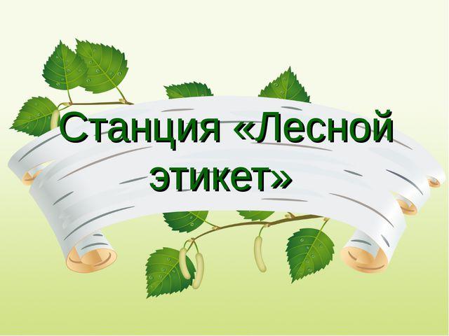 Станция «Лесной этикет»