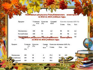 Позитивные результаты Республиканского мониторинга за 2012 по 2013 учебные го