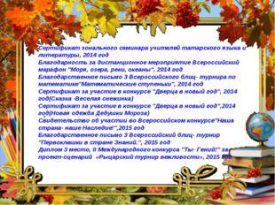 Сертификат зонального семинара учителей татарского языка и литературы, 2014 г