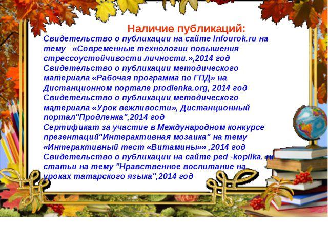 Наличие публикаций: Свидетельство о публикации на сайте Infourok.ru на тему...