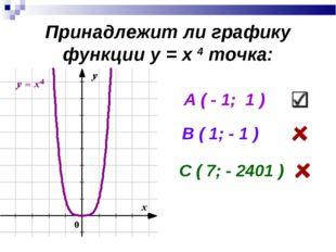 Принадлежит ли графику функции у = х 4 точка: А ( - 1; 1 ) В ( 1; - 1 ) С ( 7