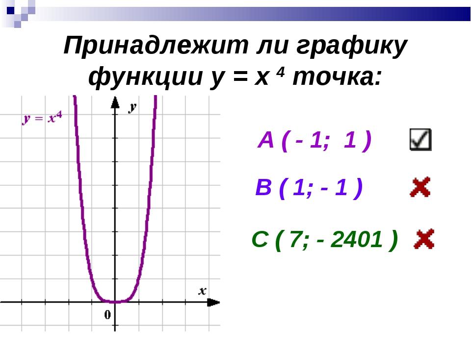 Принадлежит ли графику функции у = х 4 точка: А ( - 1; 1 ) В ( 1; - 1 ) С ( 7...