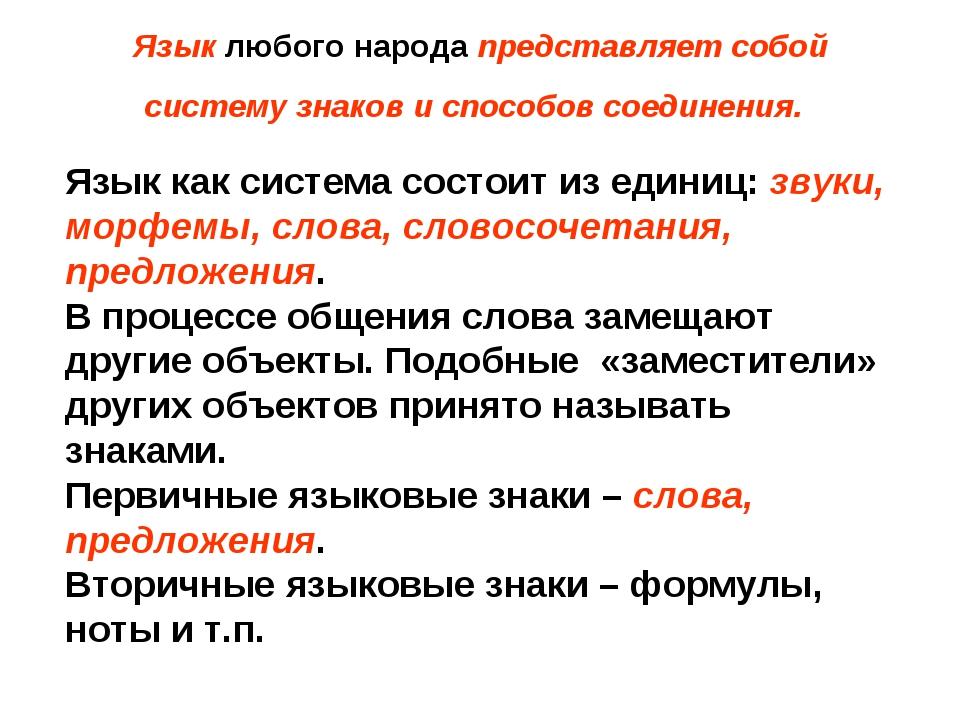 Язык любого народа представляет собой систему знаков и способов соединения....