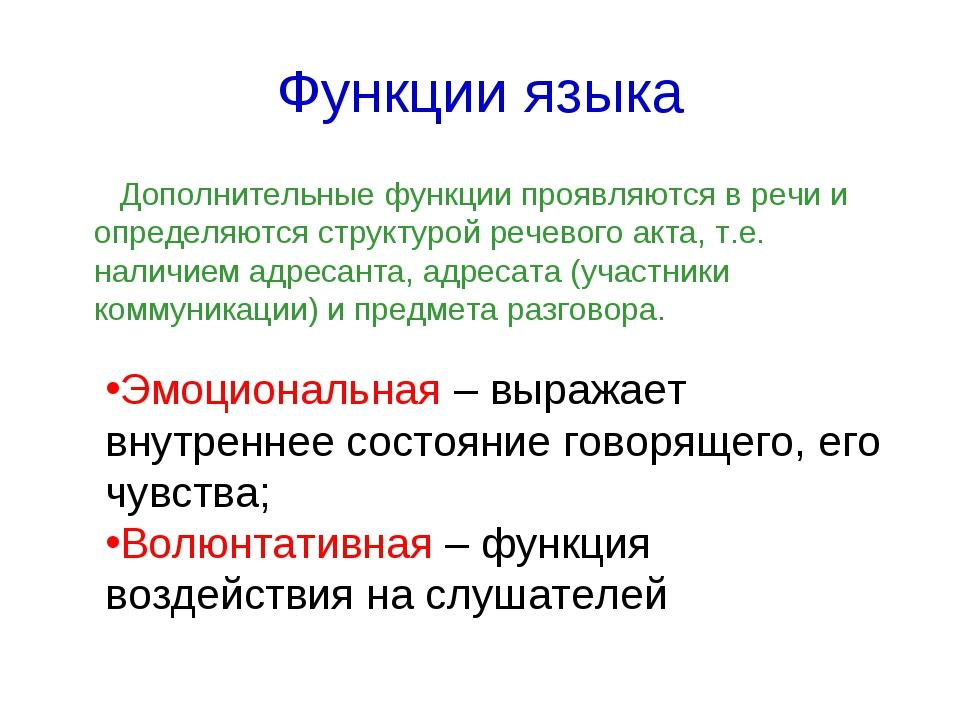 Функции языка Дополнительные функции проявляются в речи и определяются структ...