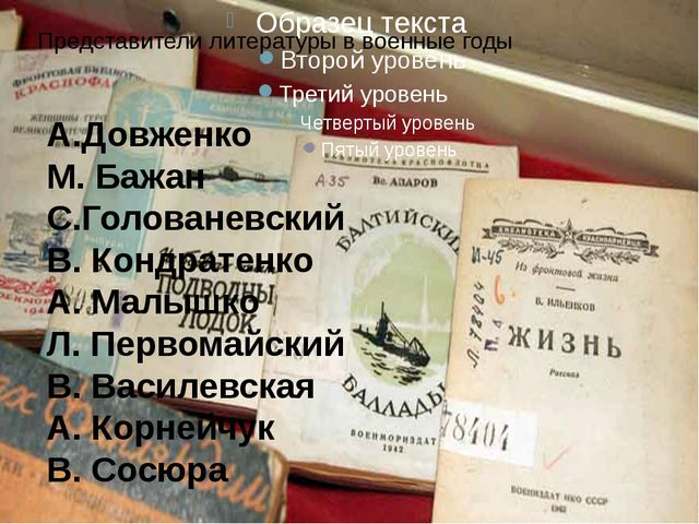 Представители литературы в военные годы А.Довженко М. Бажан С.Голованевский...