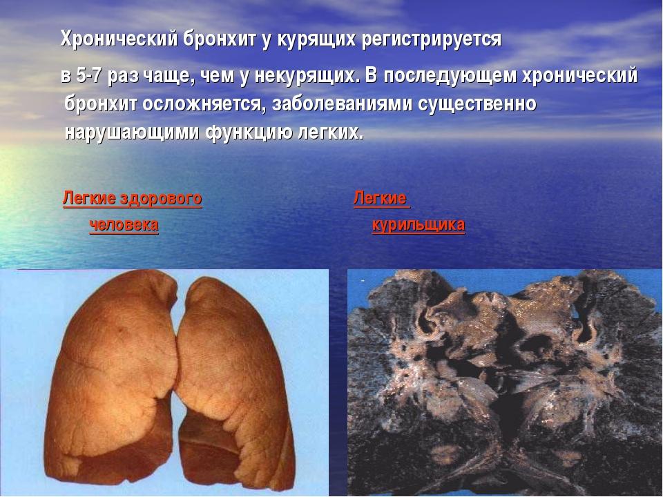 Хронический бронхит у курящих регистрируется в 5-7 раз чаще, чем у некурящих...