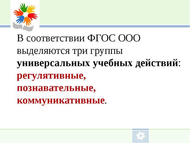 В соответствии ФГОС ООО выделяютcя три группы универсальных учебных действий:...