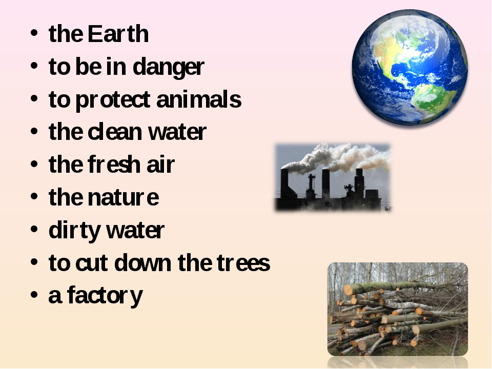 the Earth to be in danger to protect animals the clean water the fresh air th...
