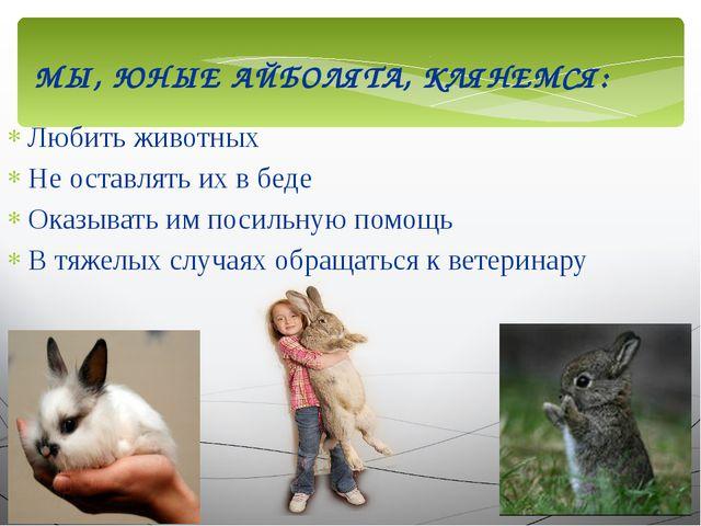 МЫ, ЮНЫЕ АЙБОЛЯТА, КЛЯНЕМСЯ: Любить животных Не оставлять их в беде Оказывать...