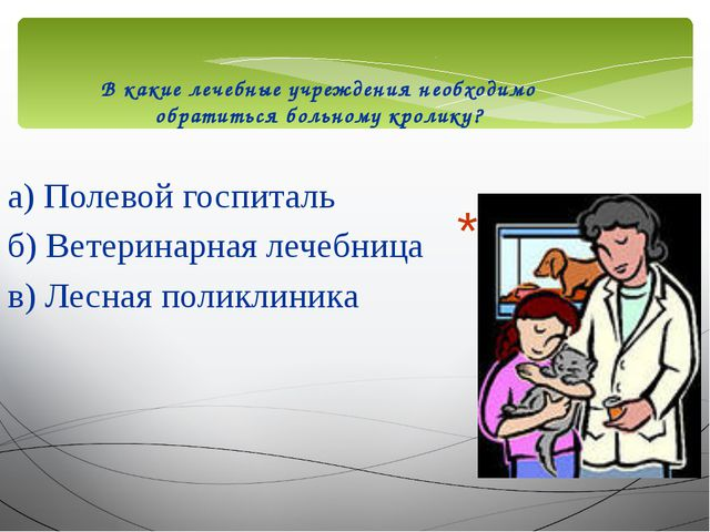 В какие лечебные учреждения необходимо обратиться больному кролику? а) Полево...
