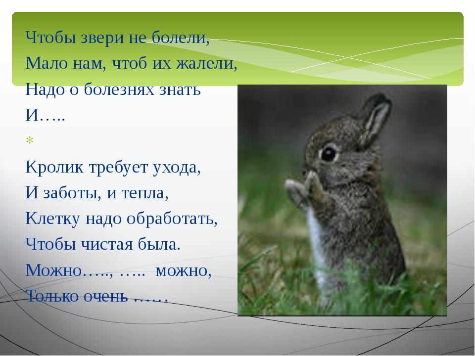 Чтобы звери не болели, Мало нам, чтоб их жалели, Надо о болезнях знать И….. ...