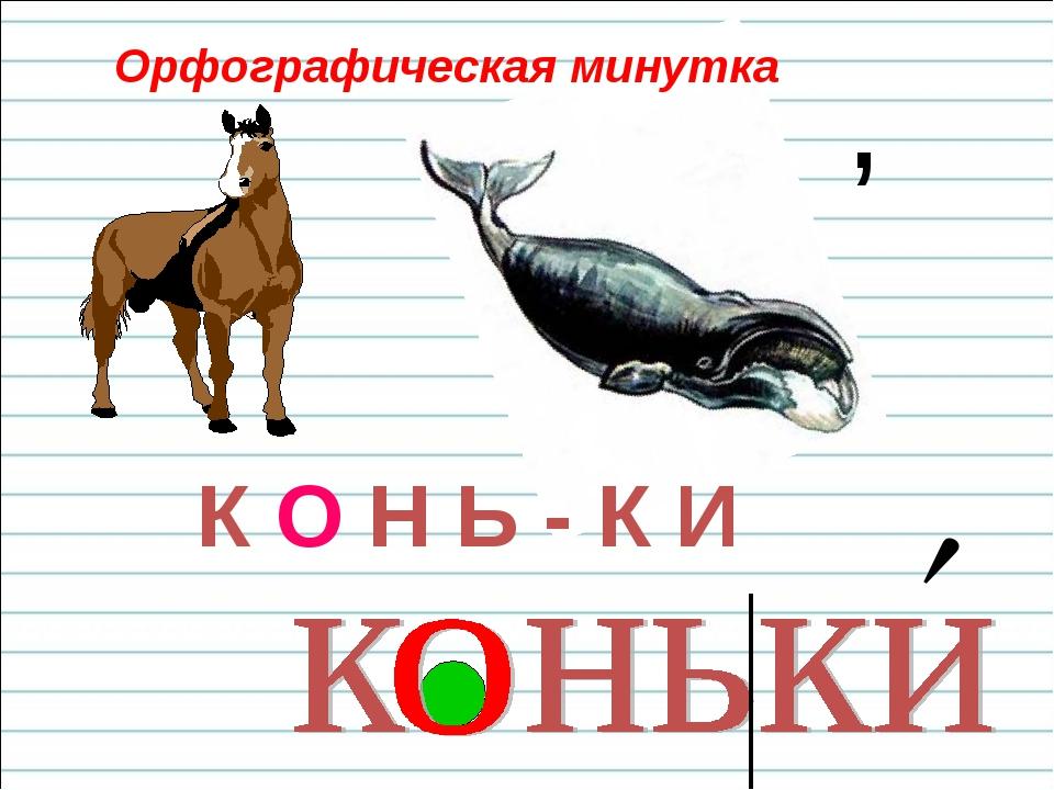  , Орфографическая минутка К О Н Ь - К И