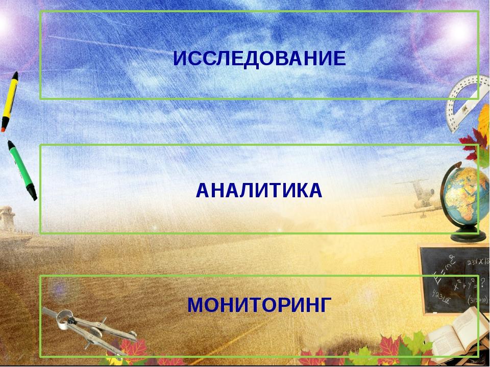 ИССЛЕДОВАНИЕ АНАЛИТИКА МОНИТОРИНГ